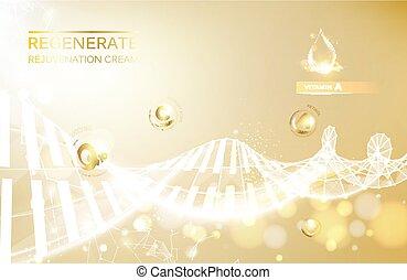 再生, 擦臉霜, 以及, 維生素, 複雜, concept., 發光, 黃金, dna, concept., 維生素e,...