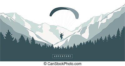 冒險, 山, 森林, paragliding, 戶外, 多雪