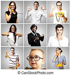 冗談を言うこと, 人々, 上に, 灰色, 若い, 背景, 構成