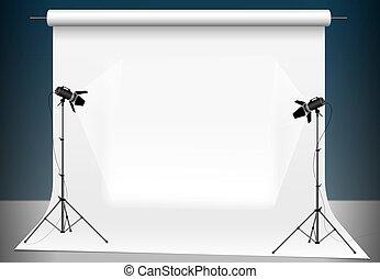 写真の スタジオ, ∥で∥, a, ライト, そして, ブランク, バックグラウンド。, 照明, ∥で∥, 2, スタジオ, flashlights., サポート, ∥ために∥, 写真, equipment.