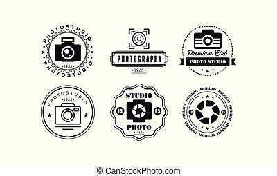 写真の スタジオ, ロゴ, セット, 写真撮影, 優れた, クラブ, 黒, バッジ, テンプレート, 中に, retro 様式, ベクトル, イラスト, 上に, a, 白い背景