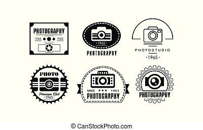 写真の スタジオ, ロゴ, セット, 写真撮影, 黒, バッジ, テンプレート, 中に, retro 様式, ベクトル, イラスト, 上に, a, 白い背景