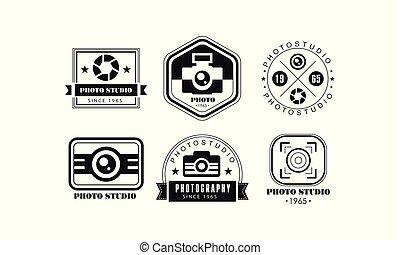 写真の スタジオ, ロゴ, セット, 写真撮影, 黒, レトロ, バッジ, ベクトル, イラスト, 上に, a, 白い背景