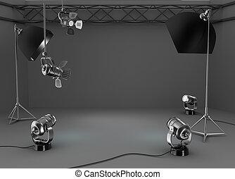 写真の スタジオ, 部屋, ライト, 装置