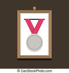 写真フレーム, メダル, 銀