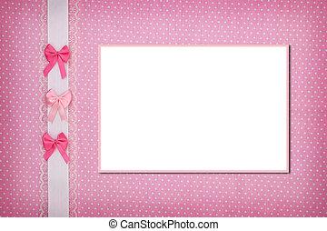 写真フレーム, 上に, ピンク, ポルカドット, 背景