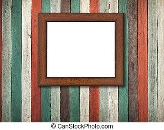 写真フレーム, 上に, 古い, 木, 壁, そして, 床