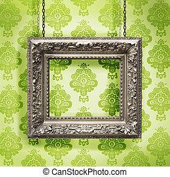 写真フレーム, 壁紙, に対して, 掛けられた, 背景, 花, 銀