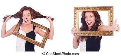 写真フレーム, 女, 白