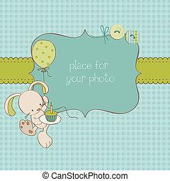 写真フレーム, 挨拶, ベクトル, 場所, テキスト, 赤ん坊, あなたの, カード