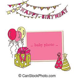 写真フレーム, -, 挨拶, birthday, ベクトル, 場所, テキスト, あなたの, カード