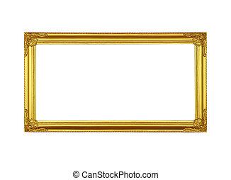 写真フレーム, 白, 金, バックグラウンド。