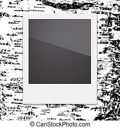 写真フレーム, polaroid, イラスト, ベクトル, レトロ, 背景, birch.