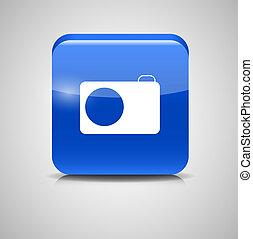写真ボタン, イラスト, ガラス, ベクトル, アイコン