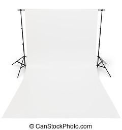写真撮影所, 白, 背景, 3d