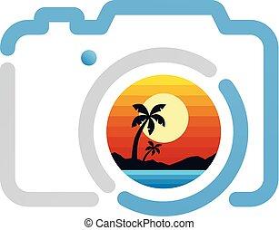 写真撮影, 印, カメラ, 浜, シンボル, アイコン
