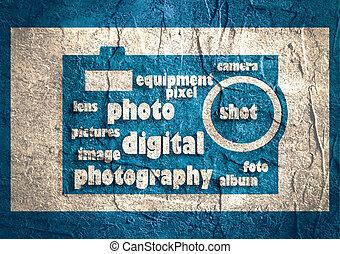 写真撮影, 雲, 単語, 作曲された, 中に, ∥, 形, の, a, 一般的, カメラ