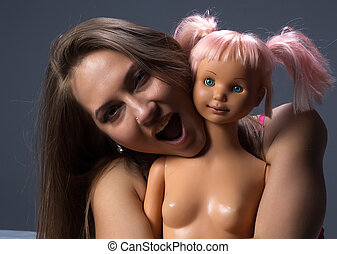 写真, の, 叫ぶこと, 女の子, ∥で∥, ∥, 人形