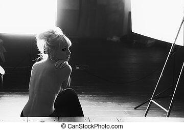 写真, の, a, 美しい, 若い, 裸 モデル