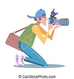写真, ひざ, 彼の, 観光客, カメラマン, ジャーナリスト