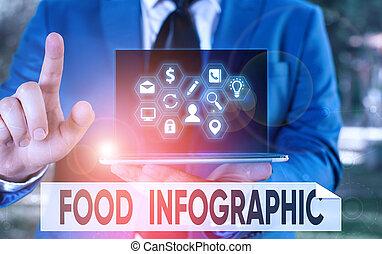 写真, イメージ, 提示, ビジネス, infographic., 手, 図, 表しなさい, information., 執筆, テキスト, 食物, 使われた, 概念, そのような物, ビジュアル