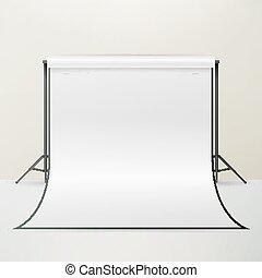 写真, イラスト, 現実的, スタジオ, vector., カメラマン, 内部, 白