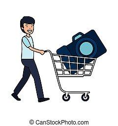 写真, カメラ, 買い物カート, 人