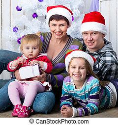 写真, クリスマス, 家族, 幸せ
