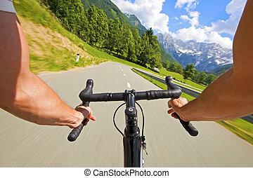 写真, サイクリング, 道, 株