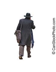 写真, シニア, 隔離された, 歩くこと, 人