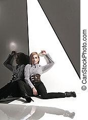 写真, スタイル, ファッション, 女性, 若い