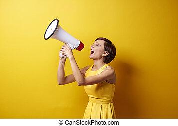 写真, セッション, bullhorn, 女性, 使うこと, モデル