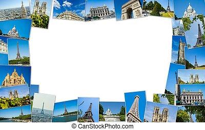 写真, パリ, コラージュ, コレクション