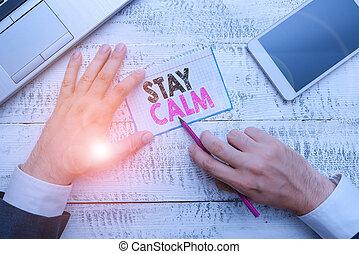 写真, ビジネス, 滞在, 維持しなさい, 州, calm., 執筆, 滑らかに, メモ, 動き, showcasing...