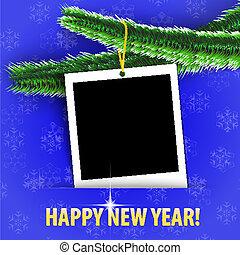 写真, フレーム, 挨拶, ブランク, 新しい,  year!, カード, 幸せ