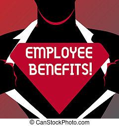 写真, ブランク, 間接, ワイシャツ, 執筆, 概念, logo., ∥ない∥, 彼の, ビジネス, 開始, 提示, 三角, 支払われた, 手, 従業員, 人, 明らかにしなさい, benefits., 現金, 補償, showcasing