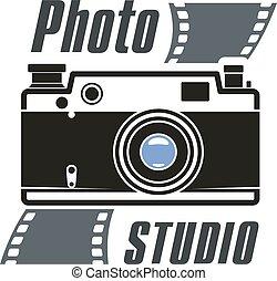 写真, ベクトル, カメラ, スタジオ, アイコン