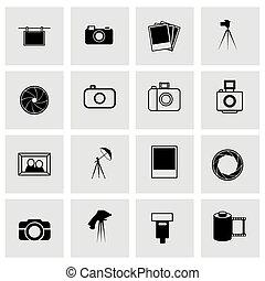 写真, ベクトル, セット, アイコン