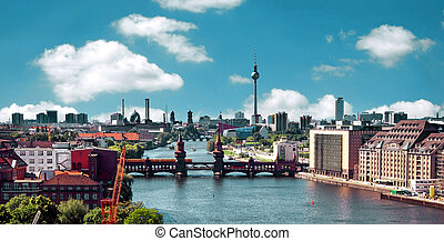 写真, ベルリン, 航空写真, スカイライン