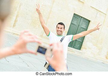写真, ポーズを取る, 観光客