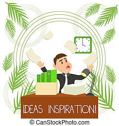 写真, マネージャー, 何か, shortage., 考え, 執筆, テキスト, 概念, 熱意, あなた, 誰か, ビジネス, 得なさい, 提示, 手, 散らかされる, 流出, inspiration., マレ, ワークスペース, 時間, 感じ, ∥あるいは∥
