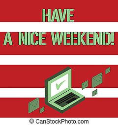 写真, ラップトップ, 希望, 何か, 持ちなさい, happen, 執筆, チェックマーク, 封筒, 概念, メール, 休日, すてきである, monitor., 誰か, のまわり, ビジネス, 提示, 手, アイコン, weekend., showcasing