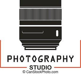 写真, レンズ, ベクトル, スタジオ, カメラ, アイコン