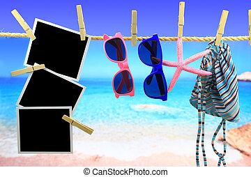 写真, ロープ, 前部, 海, 掛かること, フレーム, 項目, 浜