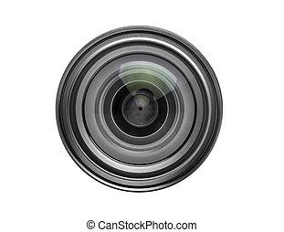 写真, 上に, レンズ, カメラ, 背景, 白