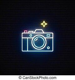 写真, 印。, カメラ, ネオン 印