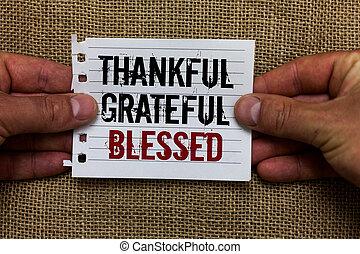 写真, 印, 感謝している, 態度, ペーパー, ありがたく思っている, 感謝, ムード, 保有物, テキスト, blessed., よい, コミュニケートする, 提示, ideas., 概念, ノート, 背景, ジュート, 人, 感謝, 小片