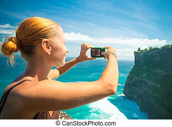 写真, 取得, 観光客