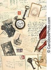 写真, 古い, 手紙, ポスト, カード