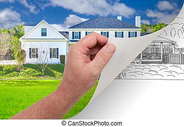 写真, 回転, 手, 家, 習慣, 図画, ページ